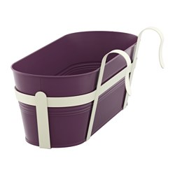 "SOCKER flower box with holder, indoor/outdoor, dark lilac Length: 20 "" Width: 7 ½ "" Height: 4 ¾ "" Length: 51 cm Width: 19 cm Height: 12 cm"