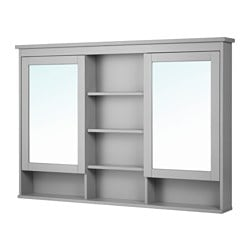 HEMNES, Mirror cabinet with 2 doors, gray