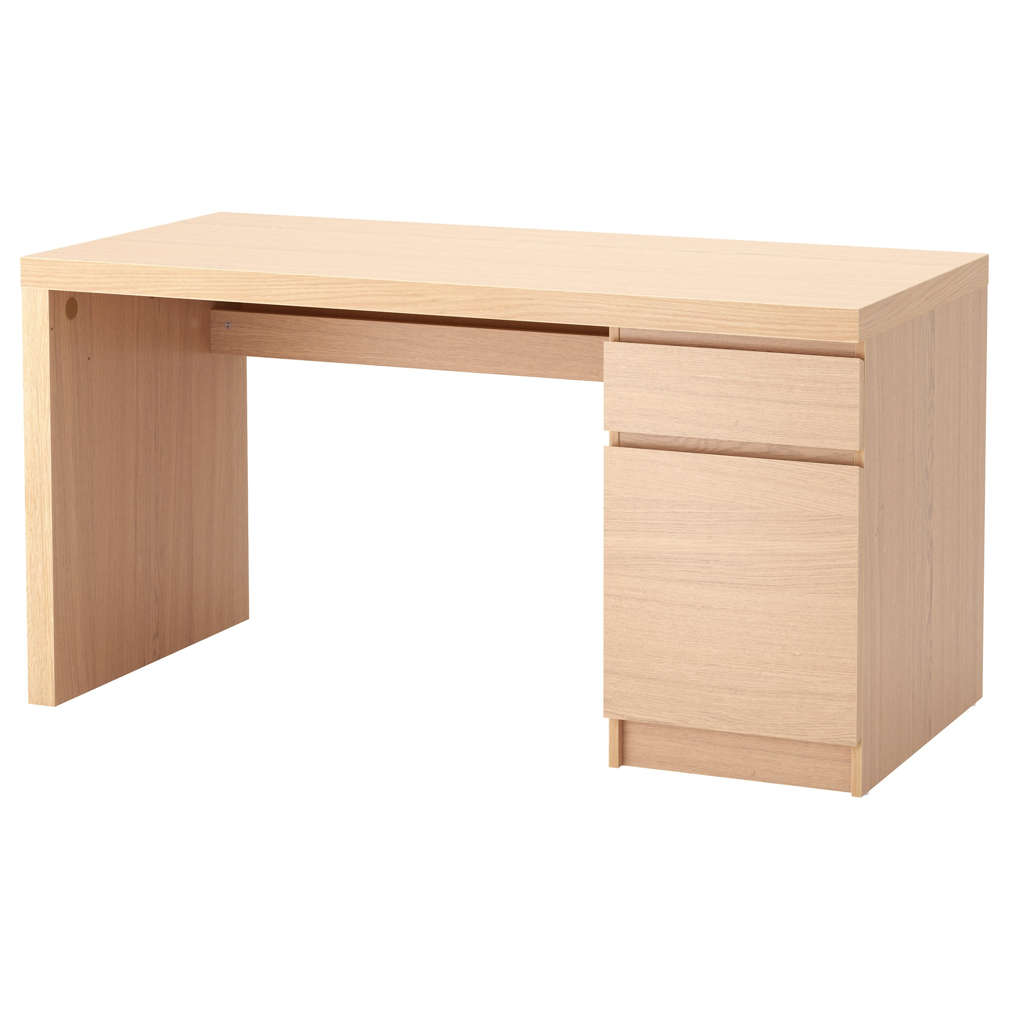 MALM Desk white stained oak veneer IKEA