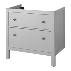 "HEMNES sink cabinet with 2 drawers, gray Width: 31 1/2 "" Depth: 18 1/2 "" Height: 32 5/8 "" Width: 80 cm Depth: 47 cm Height: 83 cm"