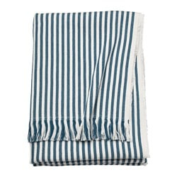 TUVALIE throw, striped white, dark green-blue Length: 180 cm Width: 120 cm Total weight: 700 g