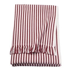 TUVALIE throw, striped white, red-brown