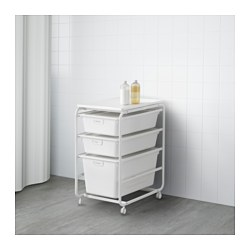"ALGOT frame with 3 boxes and top shelf, white Width: 16 1/8 "" Depth: 23 5/8 "" Height: 30 3/4 "" Width: 41 cm Depth: 60 cm Height: 78 cm"