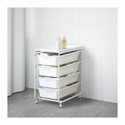 "ALGOT frame with 4 boxes and top shelf, white Width: 16 1/8 "" Depth: 23 5/8 "" Height: 30 3/4 "" Width: 41 cm Depth: 60 cm Height: 78 cm"