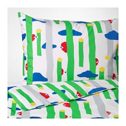 "AVSIKTLIG duvet cover and pillowcase(s), green Duvet cover length: 86 "" Duvet cover width: 64 "" Pillowcase length: 30 "" Duvet cover length: 218 cm Duvet cover width: 162 cm Pillowcase length: 76 cm"