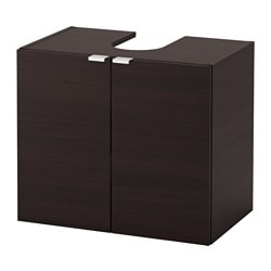 LILLÅNGEN wash-basin base cabinet w 2 doors, black-brown Width: 60 cm Depth: 38 cm Height: 51 cm