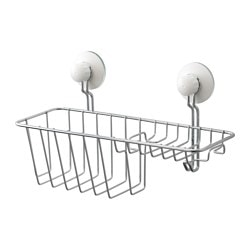 IMMELN shower/soap basket with hook, zinc plated