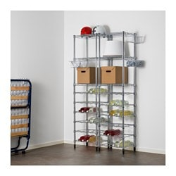 "OMAR 2 section shelving unit Width: 42 1/8 "" Depth: 19 1/4 "" Height: 71 1/4 "" Width: 107 cm Depth: 49 cm Height: 181 cm"