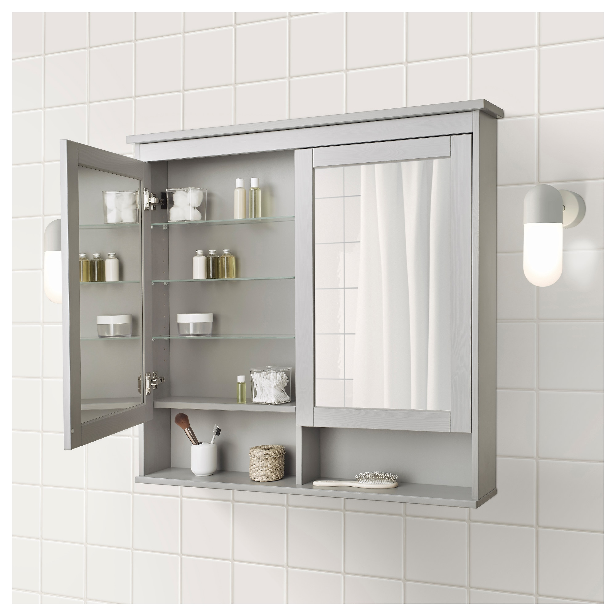 hemnes mirror cabinet with 2 doors - white, 32 5/8x6 1/4x38 5/8