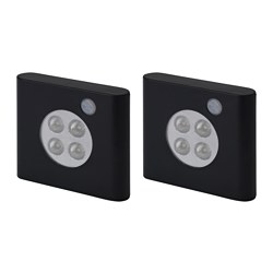 OLEBY wardrobe lighting with sensor, black Length: 6.5 cm Width: 7.5 cm Package quantity: 2 pieces