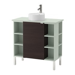 "LILLÅNGEN/ VISKAN /  GUTVIKEN sink cabinet/1 door/4 end units, black-brown, pale green Width: 32 1/4 "" Depth: 15 3/4 "" Height: 36 1/4 "" Width: 82 cm Depth: 40 cm Height: 92 cm"