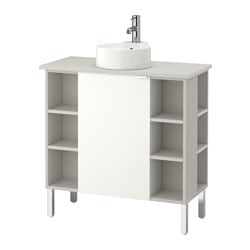 LILLÅNGEN/ VISKAN /  GUTVIKEN washbasin cab 1 door/4 end unit, white, grey Width: 82 cm Depth: 40 cm Height: 92 cm