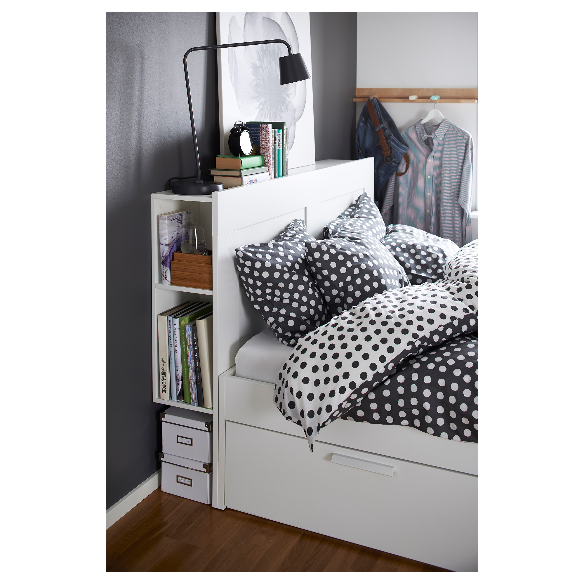 BRIMNES Bed frame with storage & headboard white Queen IKEA