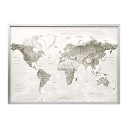 BJÖRKSTA, Picture and frame, planet earth gray/white, aluminum color