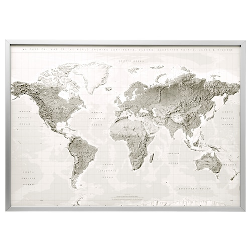 BJÖRKSTA Picture and frame - planet earth gray/white ...
