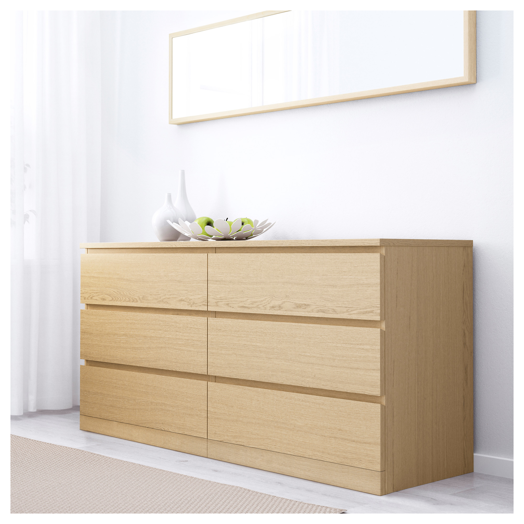 MALM 6-drawer dresser - white - IKEA