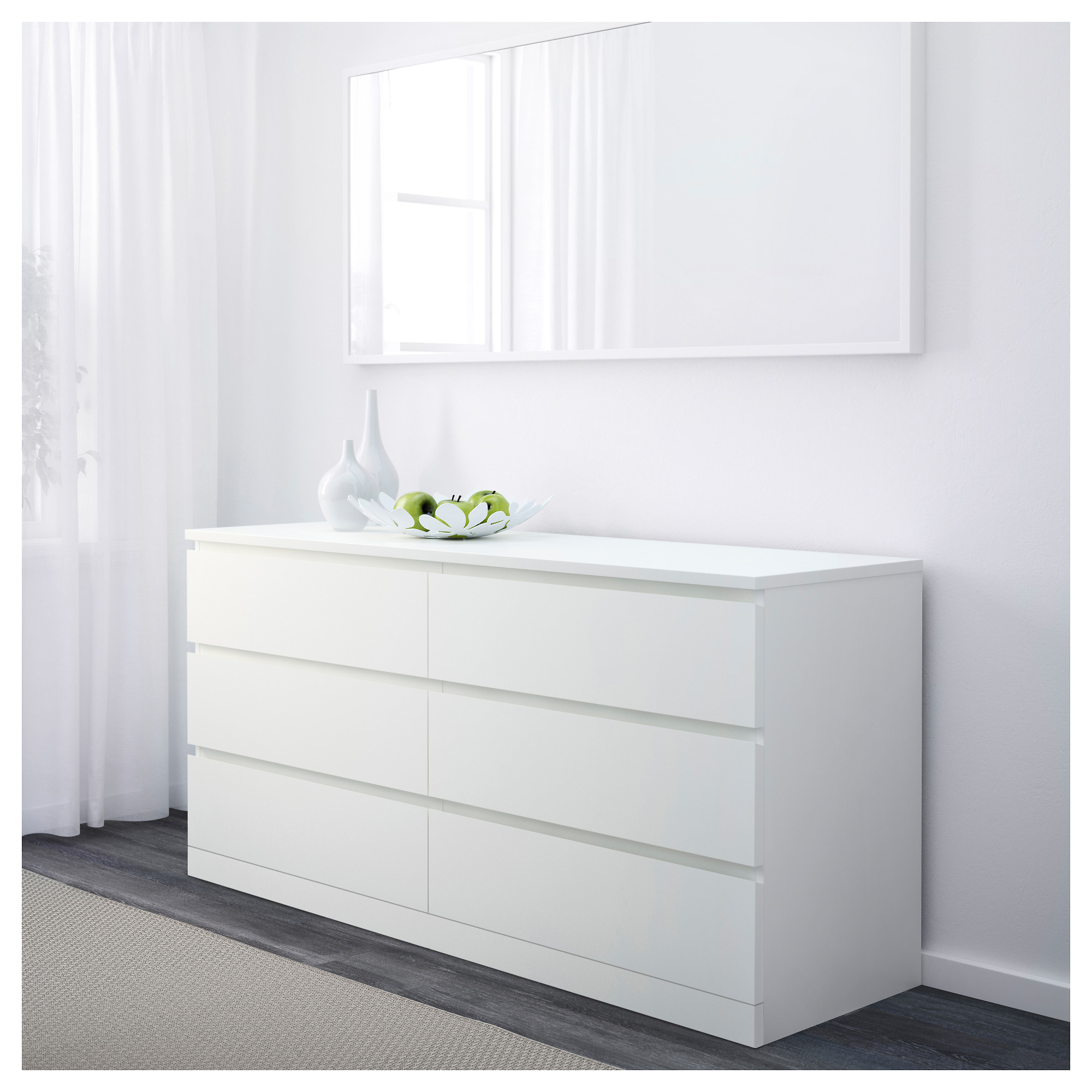 Malm 3 drawer dresser white bestdressers 2017 for Bedroom dressers ikea