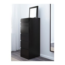 MALM 6-drawer chest, black-brown, mirror glass. IKEA FAMILY member price