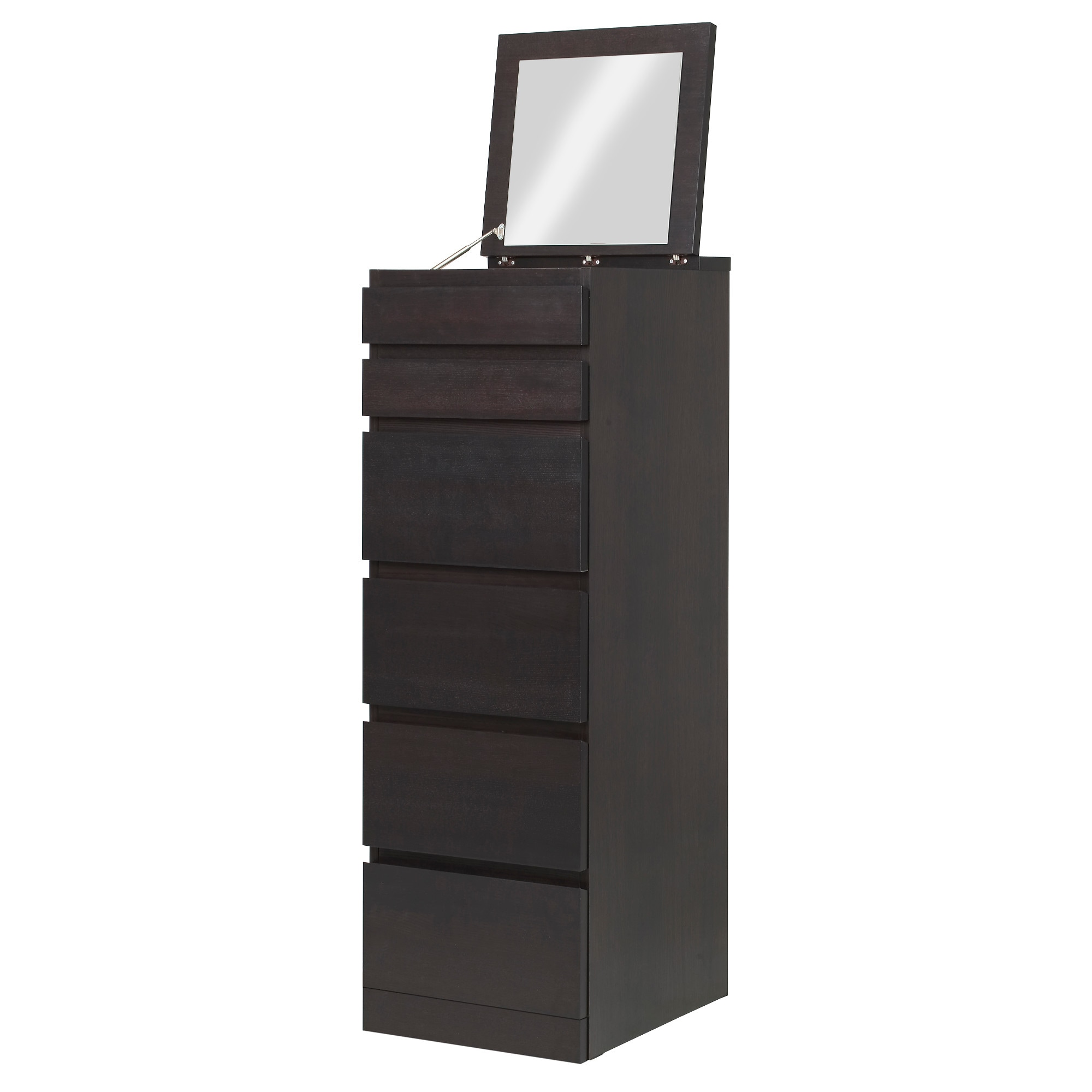 MALM 6-drawer chest, black-brown, mirror glass Width: 15 3