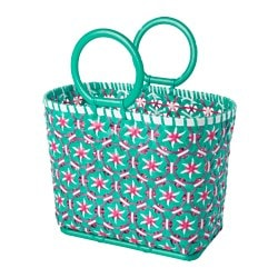 "SOMMAR 2017 picnic basket, white, green Height: 12 ½ "" Height: 31.5 cm"