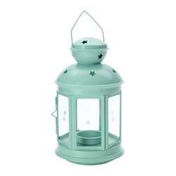 "ROTERA lantern f/tealight, indoor/outdoor, light green Height: 8 ¼ "" Height: 21 cm"