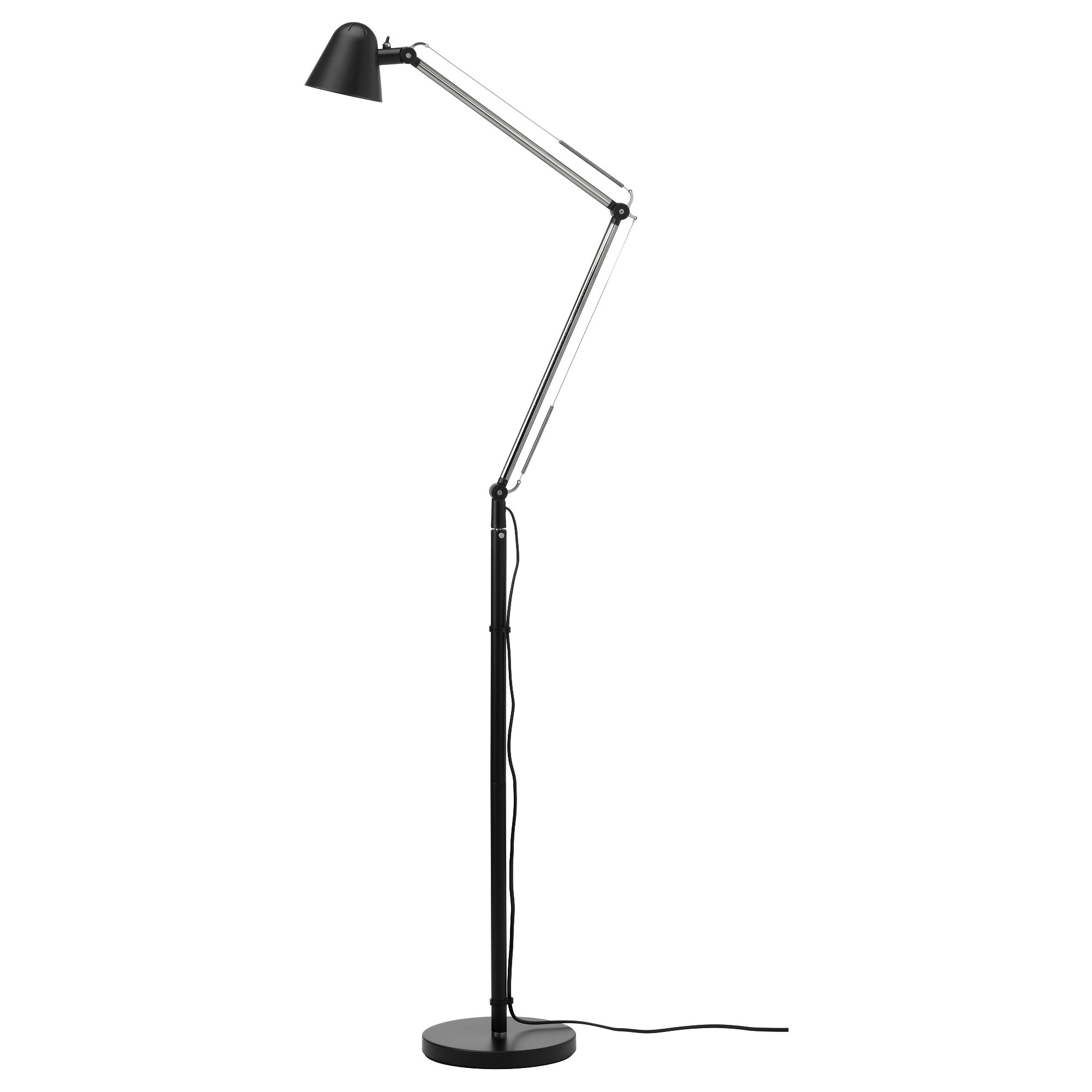 floor lamps  modern  contemporary floor lamps  ikea - uppbo floorreading lamp with led bulb black max  w height