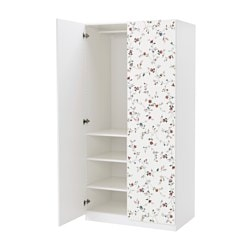 "PAX wardrobe, white, Marnardal floral patterned Width: 39 3/8 "" Depth: 23 5/8 "" Height: 79 1/4 "" Width: 100.0 cm Depth: 60.0 cm Height: 201.2 cm"