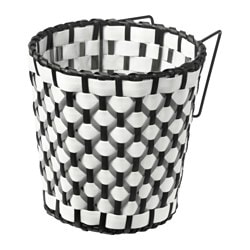 SOLROSFRÖ plant pot with holder, in/outdoor black/white Outside diameter: 15 cm Max. diameter flowerpot: 12 cm Height: 15 cm