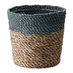 "KRUSBÄR plant pot, gray, natural Height: 10 ¼ "" Outside diameter: 10 ¾ "" Max. diameter inner pot: 9 ½ "" Height: 26 cm Outside diameter: 27 cm Max. diameter inner pot: 24 cm"