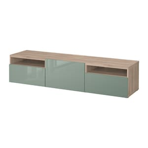 Color: Walnut effect light gray/selsviken high-gloss/light gray-green.