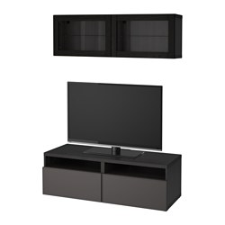 BESTÅ TV storage combination/glass doors, black-brown Grundsviken, dark grey clear glass
