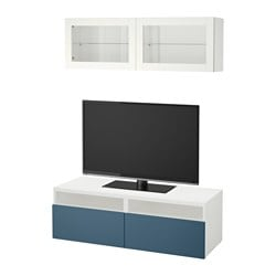 BESTÅ TV storage combination/glass doors, white Valviken, dark blue clear glass