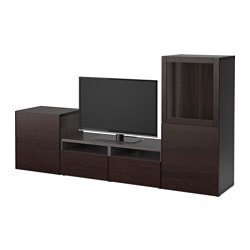 "BESTÅ TV storage combination/glass doors, black-brown Sindvik, Inviken black-brown clear glass Width: 94 1/2 "" Depth: 15 3/4 "" Height: 50 3/8 "" Width: 240 cm Depth: 40 cm Height: 128 cm"