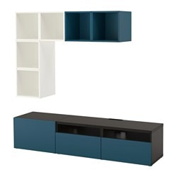 BESTÅ / EKET cabinet combination for TV, white/black-brown, dark blue