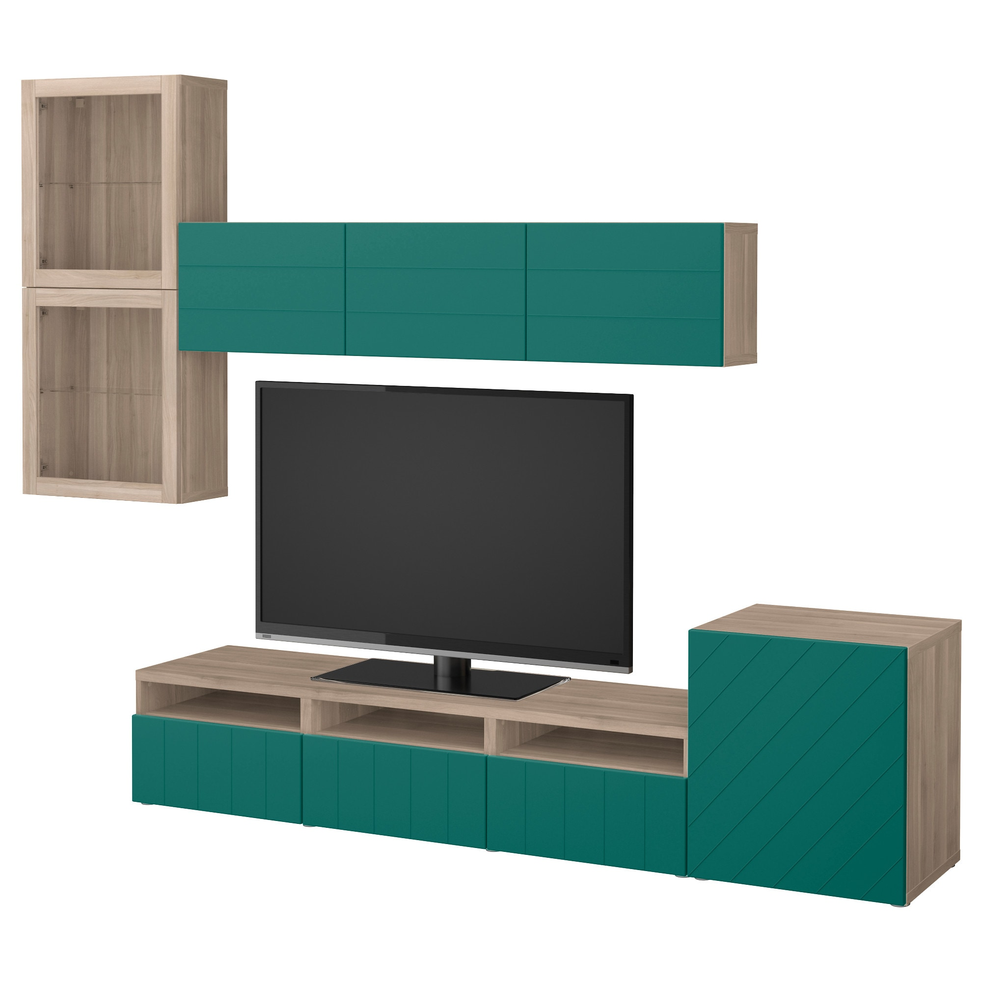 Best Tv Storage Combination Glass Doors Walnut Effect Light  # Meuble Tv Miami