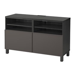 BESTÅ TV bench with doors, black-brown, Grundsviken grey