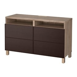 BestÅ Tv Unit With Drawers Walnut Effect Light Gray Inviken Black Brown