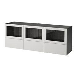 BESTÅ TV bench with doors and drawers, black-brown Lappviken, light grey clear glass