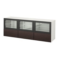 "BESTÅ TV unit with doors and drawers, white Sindvik, Inviken black-brown clear glass Width: 70 7/8 "" Depth: 15 3/4 "" Height: 25 1/4 "" Width: 180 cm Depth: 40 cm Height: 64 cm"