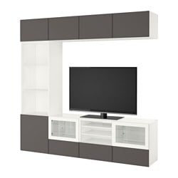 "BESTÅ TV storage combination/glass doors, white Grundsviken, dark gray clear glass Width: 94 1/2 "" Depth: 15 3/4 "" Height: 90 1/2 "" Width: 240 cm Depth: 40 cm Height: 230 cm"