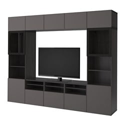 BestÅ Tv Storage Combination Gl Doors Black Brown Grundsviken Dark Grey Clear