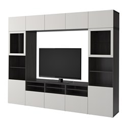 "BESTÅ TV storage combination/glass doors, black-brown, Lappviken light gray clear glass Width: 118 1/8 "" Depth: 15 3/4 "" Height: 90 1/2 "" Width: 300 cm Depth: 40 cm Height: 230 cm"
