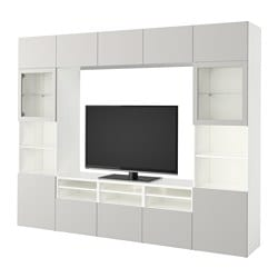 "BESTÅ TV storage combination/glass doors, white, Lappviken light gray clear glass Width: 118 1/8 "" Depth: 15 3/4 "" Height: 90 1/2 "" Width: 300 cm Depth: 40 cm Height: 230 cm"