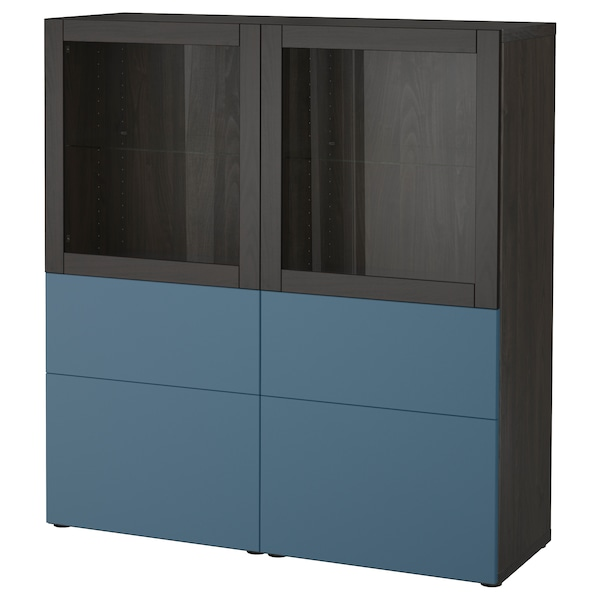 best vitrine schwarzbraun valviken dunkelblau klarglas ikea. Black Bedroom Furniture Sets. Home Design Ideas