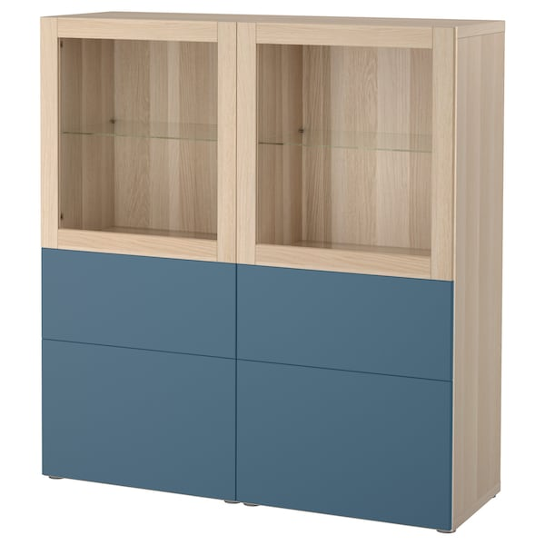 best vitrine eicheneff wlas valviken dunkelblau klarglas ikea. Black Bedroom Furniture Sets. Home Design Ideas