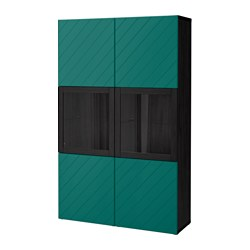 BESTÅ storage combination w glass doors, black-brown Hallstavik, blue-green clear glass
