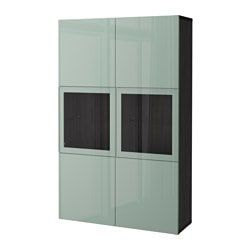 BESTÅ storage combination w glass doors, black-brown Selsviken, high-gloss/light grey-green clear glass Width: 120 cm Depth: 40 cm Height: 192 cm