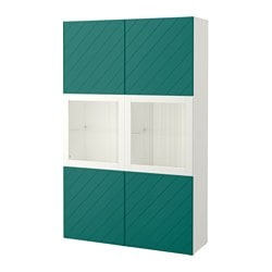 BESTÅ storage combination w glass doors, white Hallstavik, blue-green clear glass