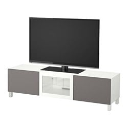 BESTÅ TV bench with drawers and door, white, Grundsviken grey clear glass Width: 180 cm Depth: 40 cm Height: 48 cm