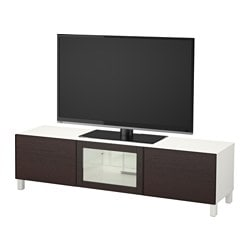 "BESTÅ TV unit with drawers and door, white, Inviken black-brown clear glass Width: 70 7/8 "" Depth: 15 3/4 "" Height: 18 7/8 "" Width: 180 cm Depth: 40 cm Height: 48 cm"